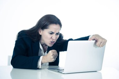 Young beautiful business woman suffering stress working at office computer desk feeling frustrated and tired looking overworked overwhelmed In business education failure and technology concept.