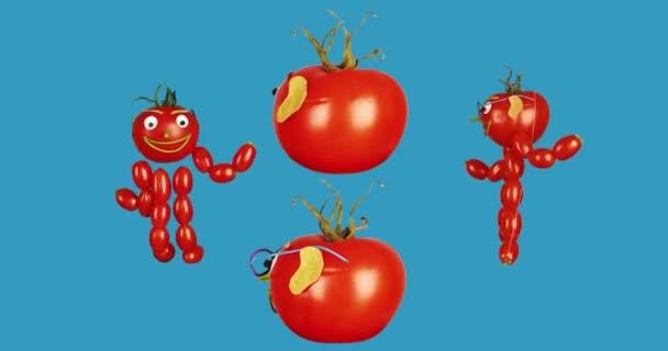 Veselá rajčata malí muži tančí na modrém pozadí.