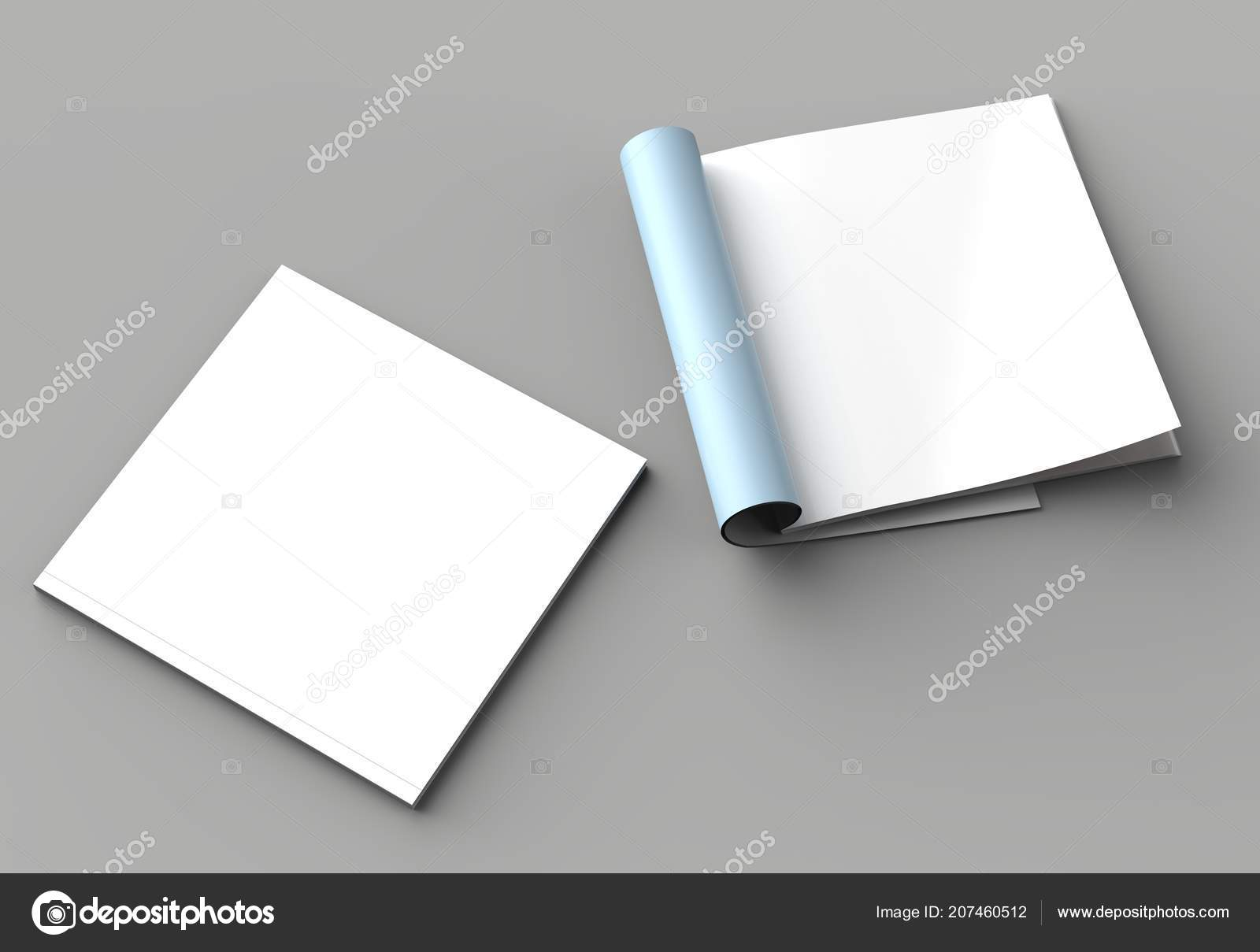 Square Magazine Brochure Catalog Mock Isolated Right Page