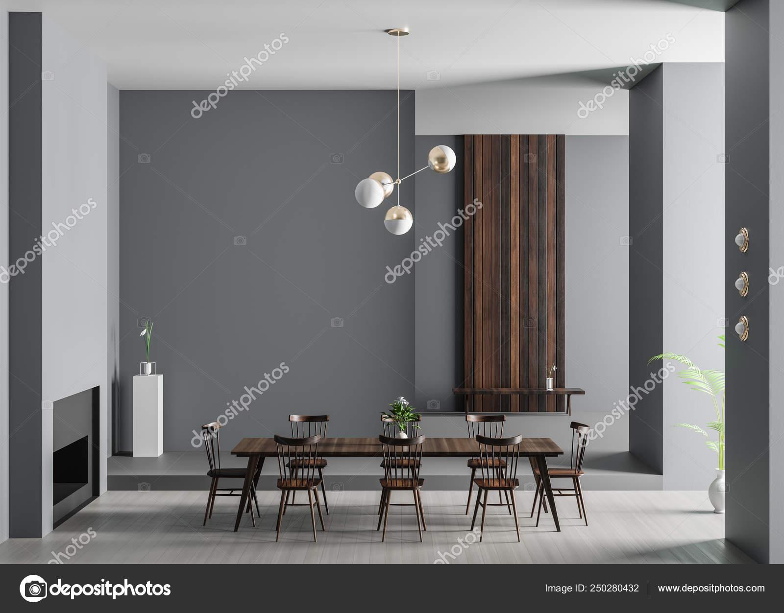 Lujo espacioso salón comedor con chimenea. Di moderno minimalista ...