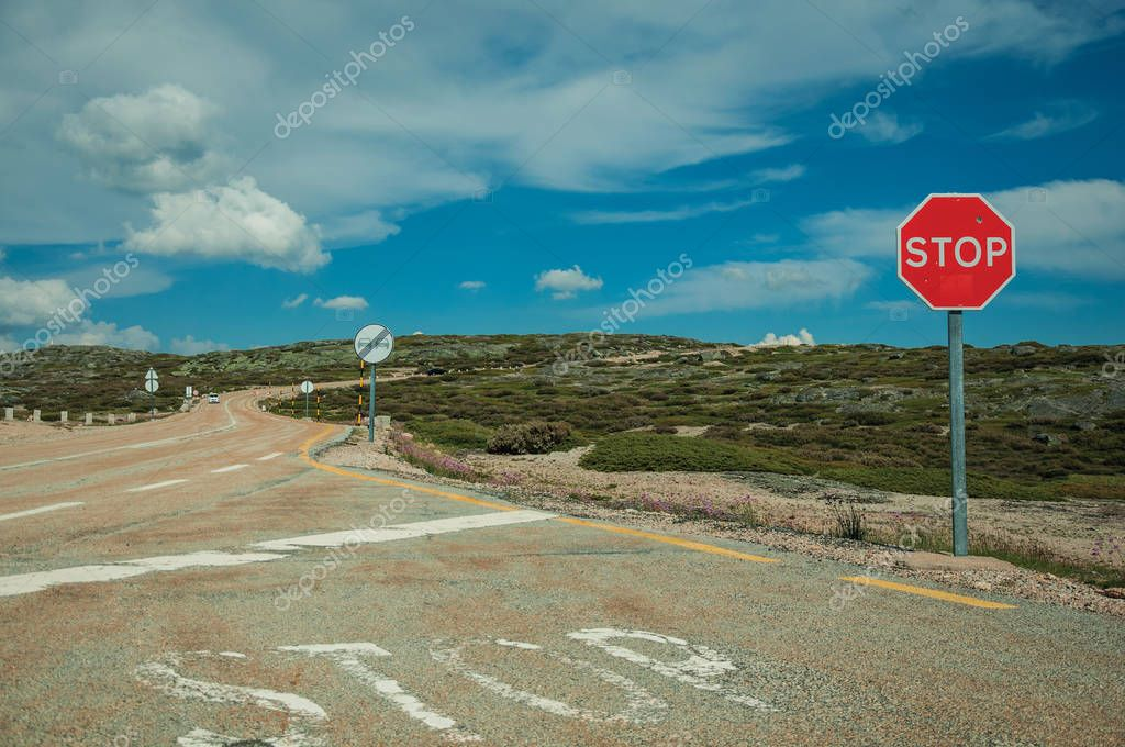 Roadway with STOP signpost on rocky landscape