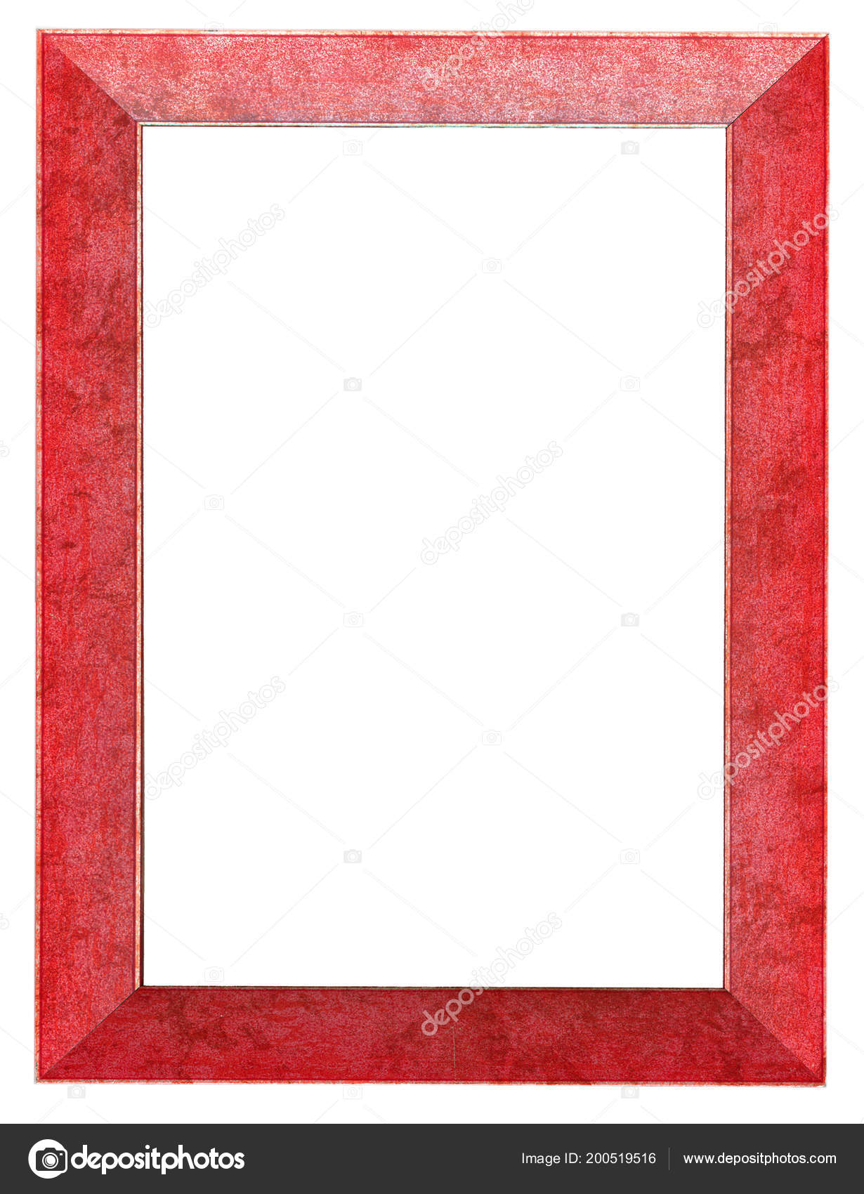 Red Plastic Frame Isolated White Stock Photo
