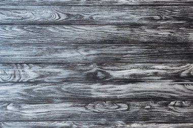 top view of blank grey wooden background with horizontal planks