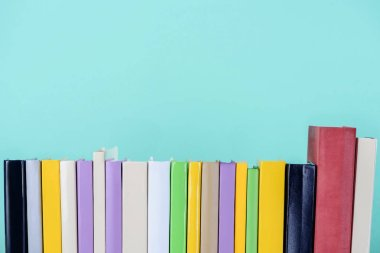 row of colored books isolated on blue