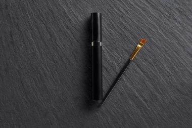 Mascara tube and brush on dark slate background