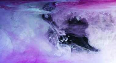 abstract blue, white and purple background with flowing ink