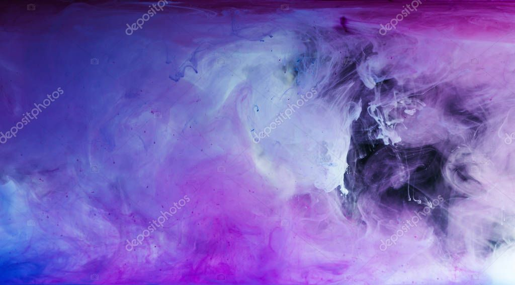 abstract blue, white and purple artistic background with flowing paint