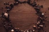 pohled shora z kruhu, vyrobené z různých typů kousky čokolády, pralinky, drobečky kávy a kakaových bobů na dřevěný stůl