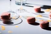 zblízka pohled připravené sladké macarons na desku stolu