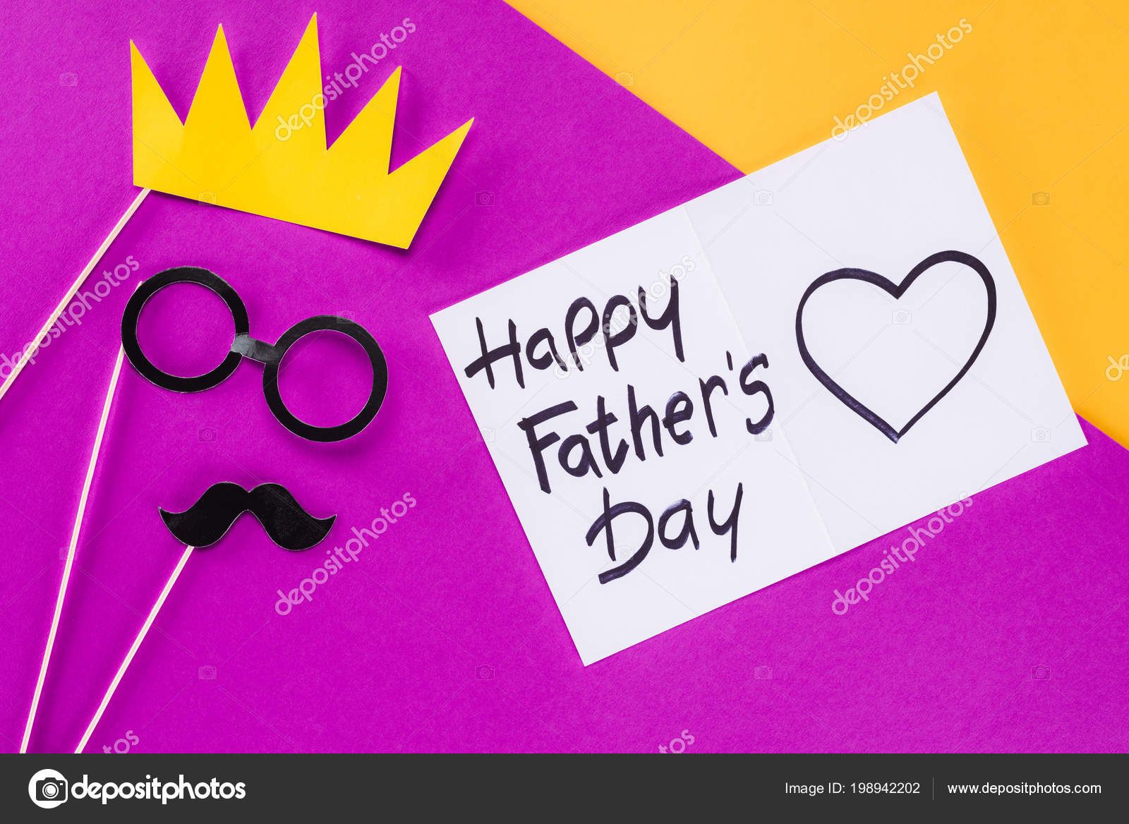 Top View King Face Gift Box Happy Fathers Day Greeting Stock Photo