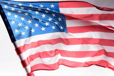 close-up shot of waving united states flag on grey, Independence Day concept