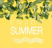 Fotografie krásné čerstvé zelené listy a slova užít léto izolované na žluté