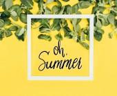 cornice bianca con parole oh estate fogli di verde e il giallo