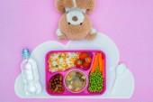 Fotografie pohled shora tác s obědem dětí pro školu a Medvídek na fialovou povrchu