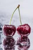 zár megjelöl kilátás vörös érett cseresznye csepp víz nedves felületen