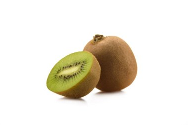 close up view of fresh and ripe kiwi isolated on white