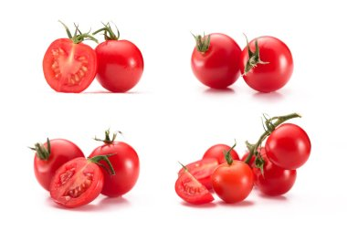 close up view of arranged cherry tomatoes isolated on white