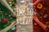 Fényképek részleges kilátás nyílik meg, figyelembe véve a házi pizza szelet, alkalommal felirat pizza