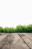 Photo full frame of wooden planks and green grass isolated on white