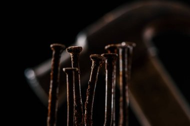 selective focus of retro rusty nails and hammer isolated on black