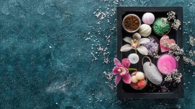 top view of sea salt and organic spa accessories in box