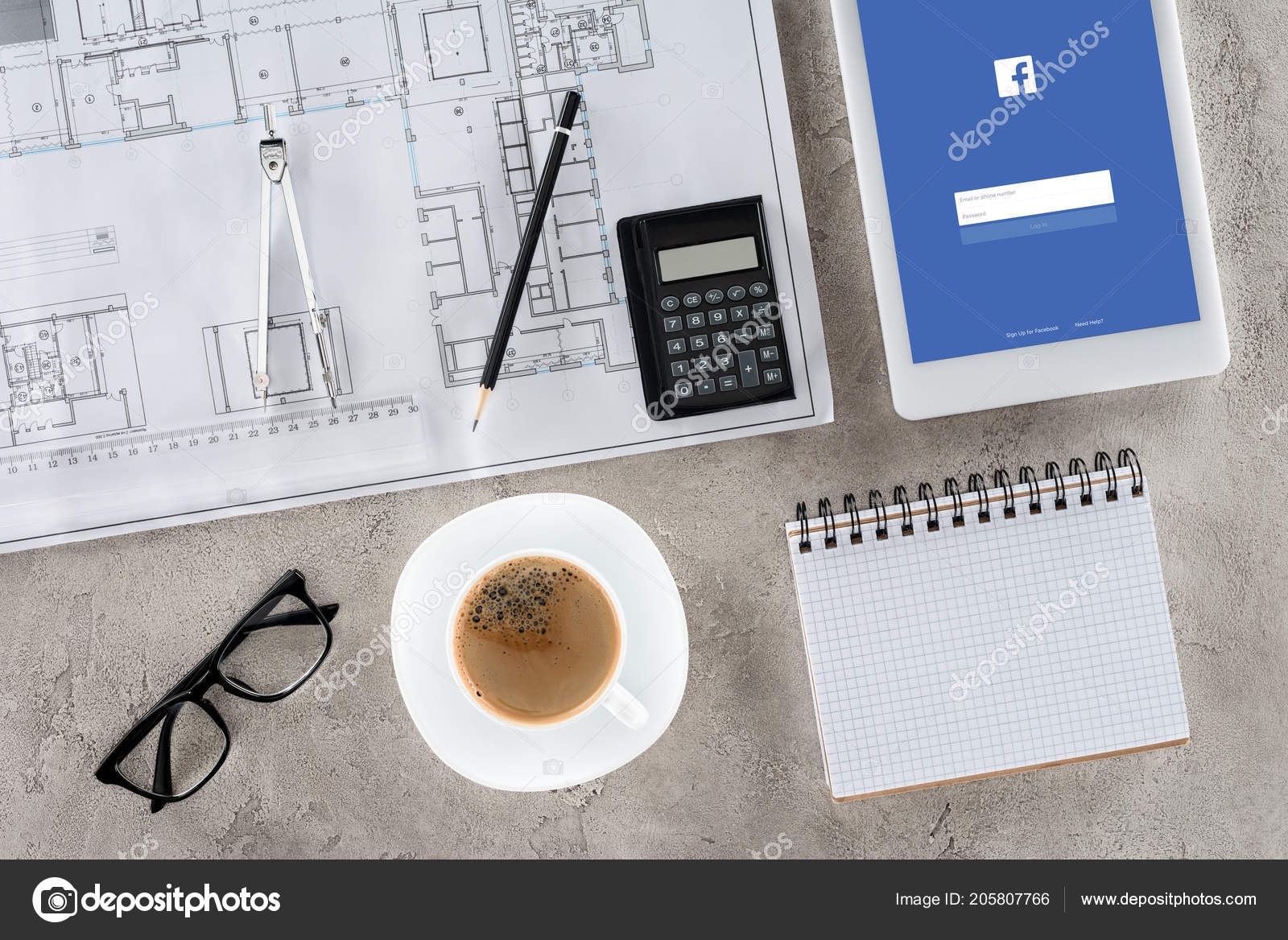 Top view architect workplace blueprint divider coffee digital tablet top view architect workplace blueprint divider coffee digital tablet facebook stock photo malvernweather Gallery