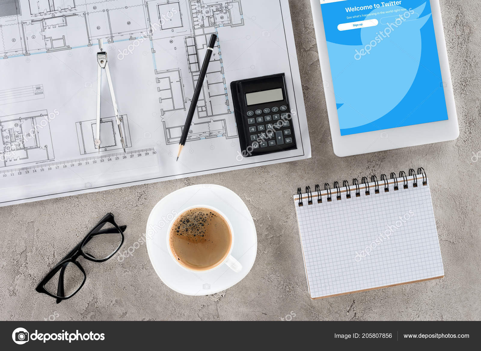 Top view architect workplace blueprint divider coffee digital tablet top view architect workplace blueprint divider coffee digital tablet twitter stock photo malvernweather Images