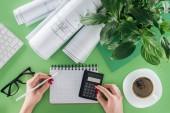 Oříznout obrázek ženské architekta výpočet tabulky wth modrotisky, rostlin a káva