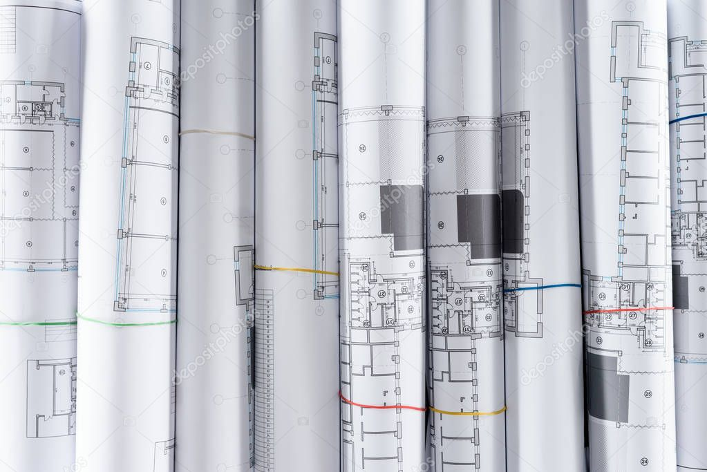 Full frame image of arranged architect blueprints placed in row stock vector