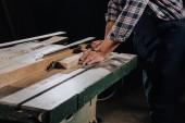 částečný pohled Carpenter pilou na dřevěná dílna