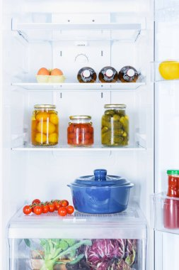 pan, preserved and ripe vegetables in fridge