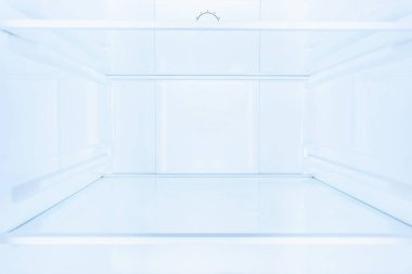 shelves in empty open white fridge