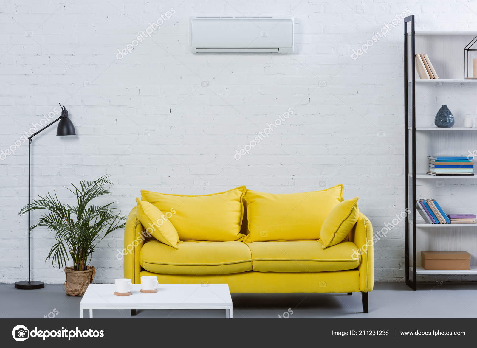 Yellow Couch Air Conditioner Hanging, Air Conditioner For Living Room