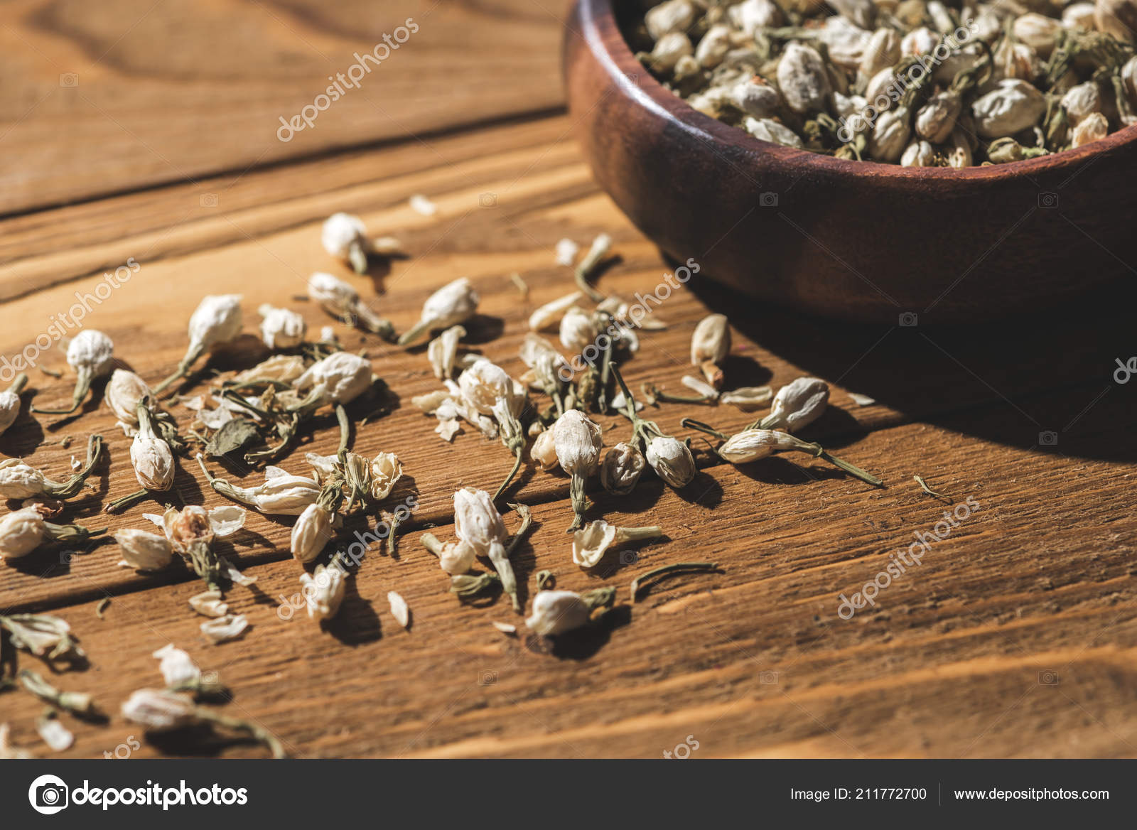 Dried Organic Jasmine Flowers Wooden Bowl Wooden Table Foto De