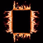 Fotografia Chiuda sulla vista di masterizzazione cornice quadrata isolata sul nero