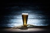 sklenici chutné pivo a pšeničné klásky na dřevěný stůl, oktoberfest koncepce