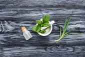 elevated view of bottle of natural herbal essential oil, pestle with mortar and aloe vera on grey surface