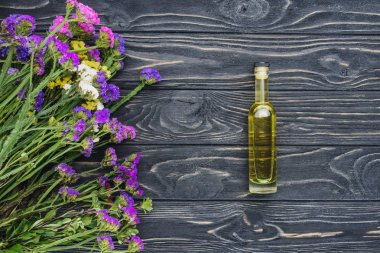 top view of bottle of natural herbal essential oil and violet flowers on wooden surface