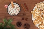 Photo top view of cup with hot chocolate and marshmallows, cinnamon sticks and gingerbread cookies