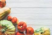 pohled na podzimní různých zralé dýně na desku stolu