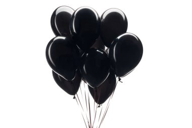 Bunch of black balloons isolated on white for black friday sale stock vector
