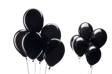 bunches of black balloons isolated on white for black friday special offer