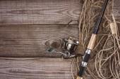 felülnézet, háló, horgászbot, a fa deszka a halászati