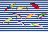 pohled z různých rybí návnady na proužkovaném pozadí