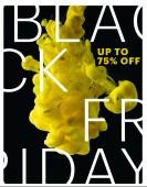 zářivě žluté tekoucí barvy exploze na černém pozadí s černý pátek prodej