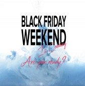 Photo mixing of blue and white paint splashes isolated on white with black friday weekend is coming, are you ready?