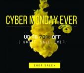 Fotografia giallo che scorre inchiostro su priorità bassa nera con le 70 percentuali fuori il più grande vendita di mai - cyber lunedi mai