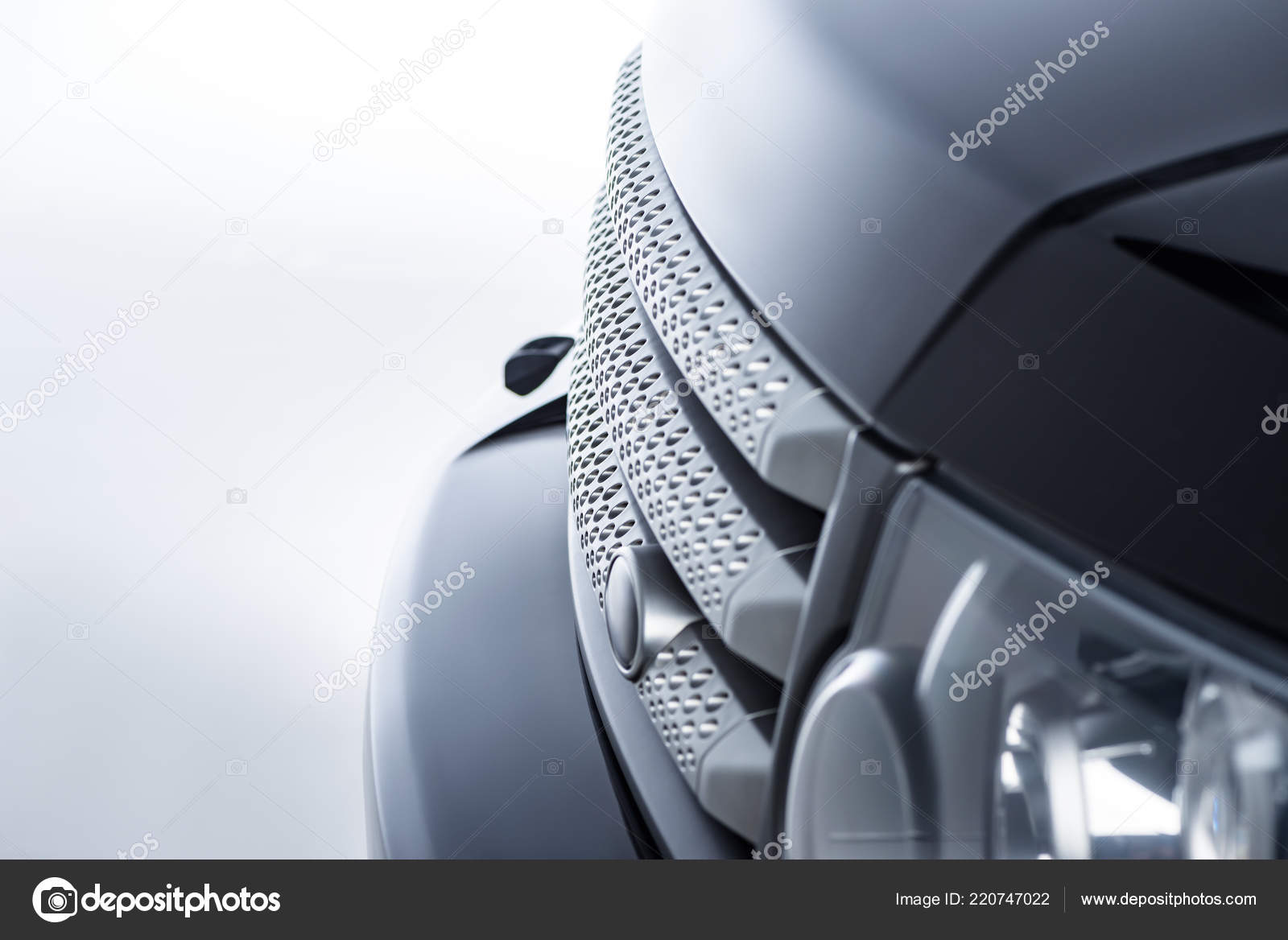 Close View New Luxury Car Grey Background Stock Photo
