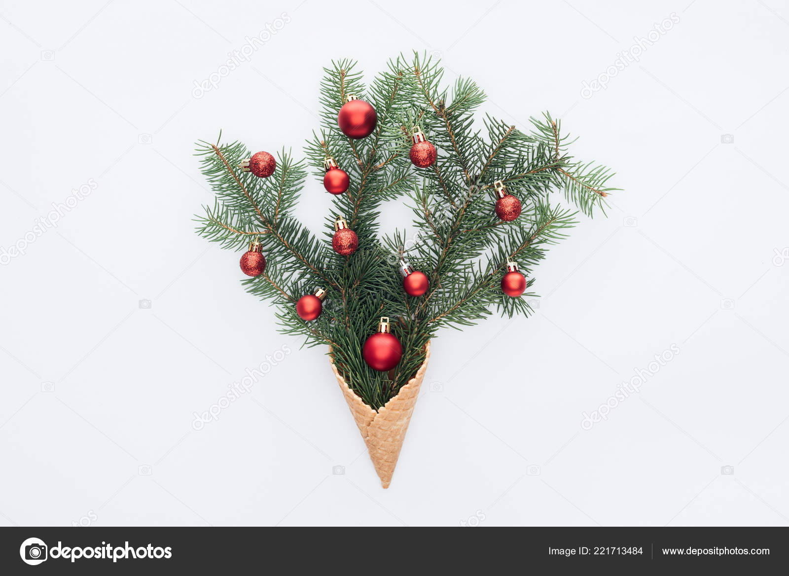Top View Red Christmas Toys Pine Tree Branches Ice Cream — Stock ...