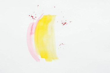 Abstract painting with yellow and pink watercolor strokes with red splatters stock vector